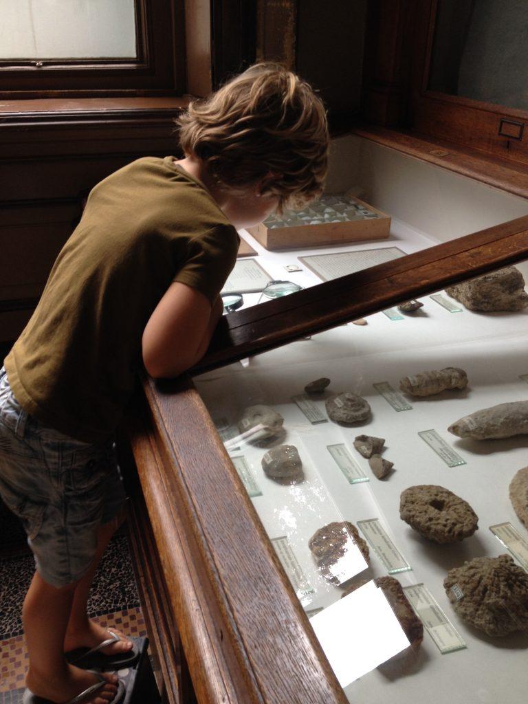 Jongen bij vitrine Teylers Museum